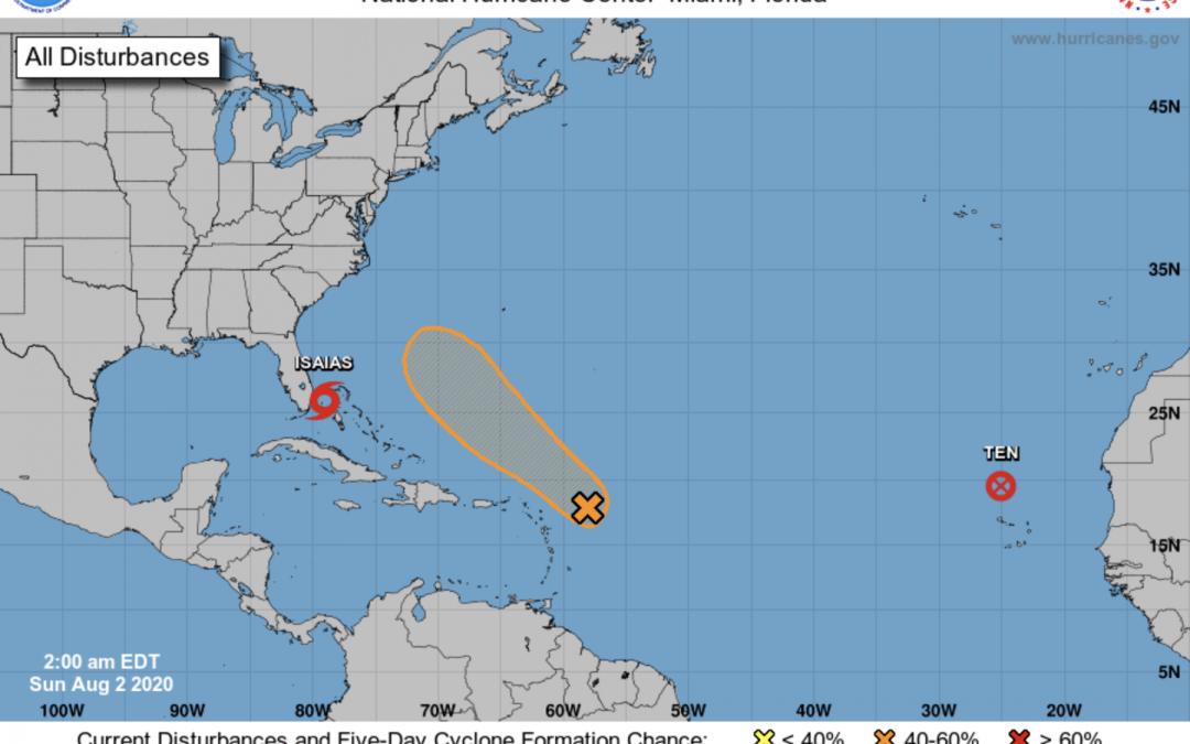 Temporada de huracanes 2020 en el Atlántico: Isaias, noveno ciclón, y también récord