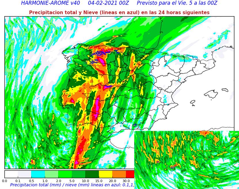 Lluvias fuertes en el Oeste peninsular y Canarias, aquí con nieve