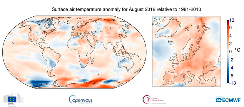 Informe climático del Planeta: agosto de 2018 el sexto más cálido del registro