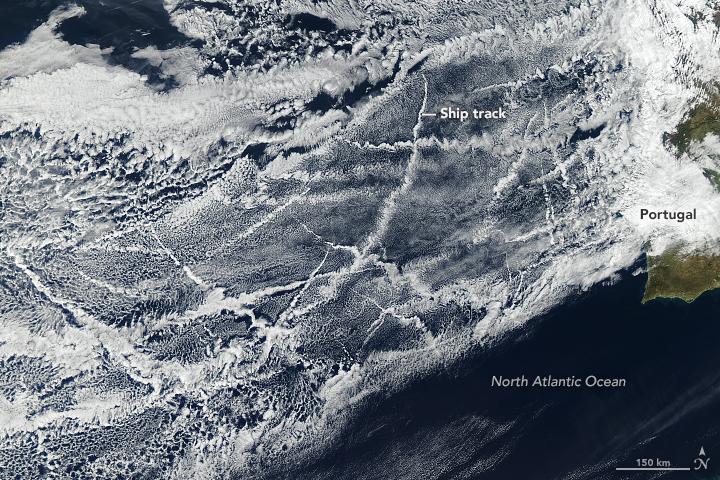Las estelas de barcos, shiptrails, afectan al clima del planeta