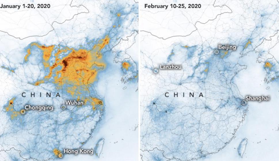 El coronavirus provoca la caída de los niveles contaminantes