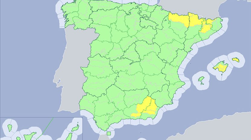 Tormentas intensas en el sureste y Pirineos
