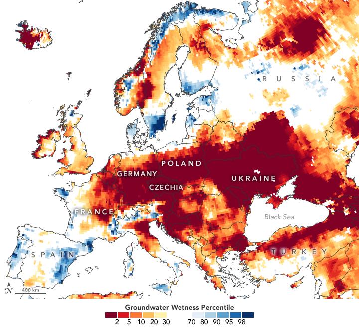 Señales de sequía en las aguas subterráneas europeas