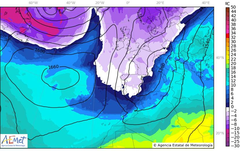 Intensa advección de masas de aire frío ártico: condiciones de auténtico invierno