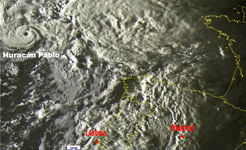 Huracán Pablo a 700 km de Galicia, otro ciclón histórico