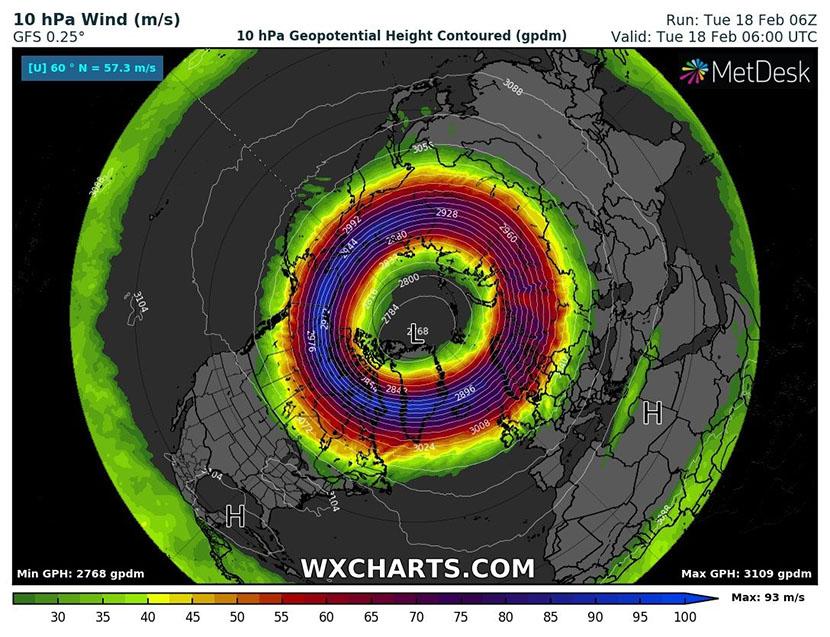 El Vórtice Polar Estratosférico alcanza una fortaleza excepcional