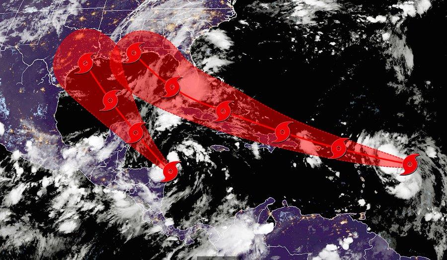 Laura y  Marco en el Golfo de México ¿Efecto Fujiwhara?