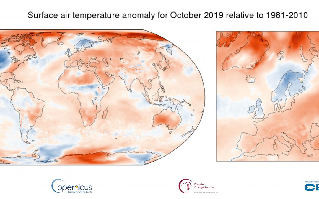 Octubre de 2019 fue el más cálido del registro histórico
