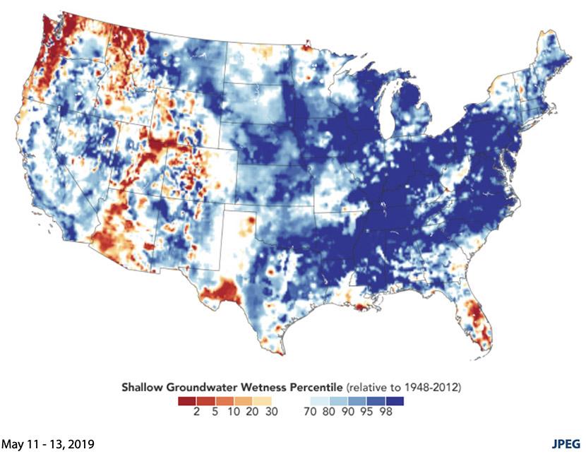 Lluvias récord dejan los suelos de Estados Unidos empapados