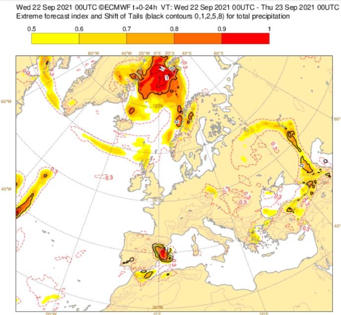 Precipitaciones intensas asociadas a la DANA