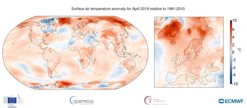 Abril de 2019 fue el segundo más cálido del registro
