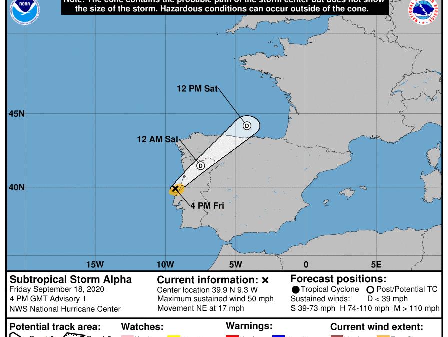 Última hora: el Invest 99L toca tierra como tormenta subtropical Alfa